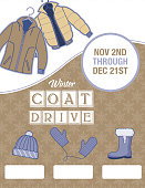 Winter Coat Donation Charity Poster template.