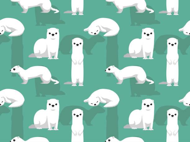 Winter Coat Weasel Cute Cartoon Background Seamless Wallpaper Animal Wallpaper EPS10 File Format ermine stock illustrations