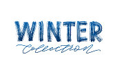 Winter collection blue text on white background. Modern brush calligraphy. Vector illustration. Hand drawn lettering word. Design for social media, print lables, poster banner