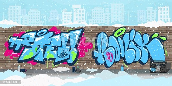 istock Winter Colorful Streetart Graffiti Wall Against The Background Of The Cityscape Vector Illustration 1293026912