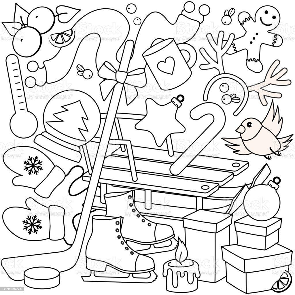 Invierno Para Colorear Para Niños - Arte vectorial de stock y más ...