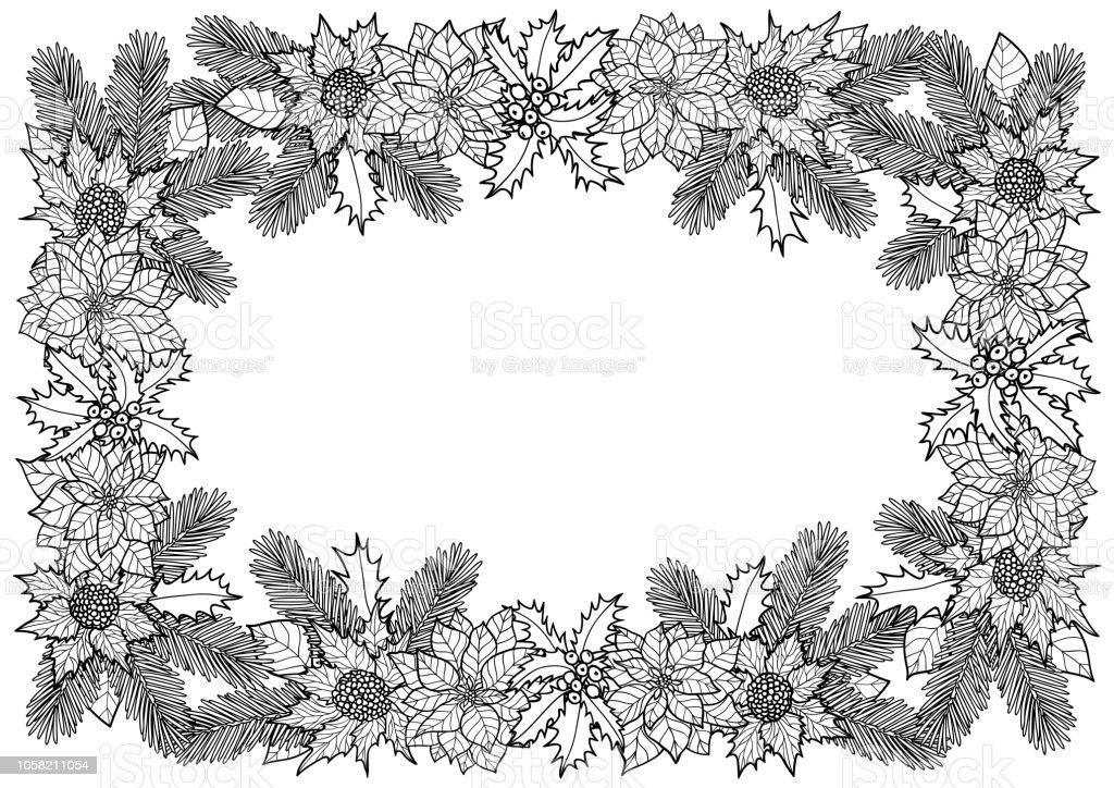 Coloriage Cadre Fleur.Cadre Coloriage Hiver De Sapin Et De Fleurs Vecteurs Libres De
