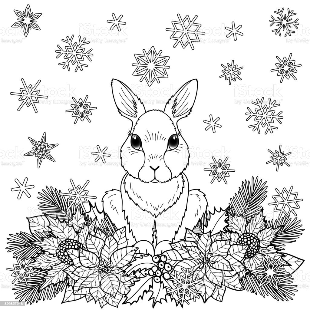 Winter Coloring Page With Rabbit Stock Illustration - Download Image Now