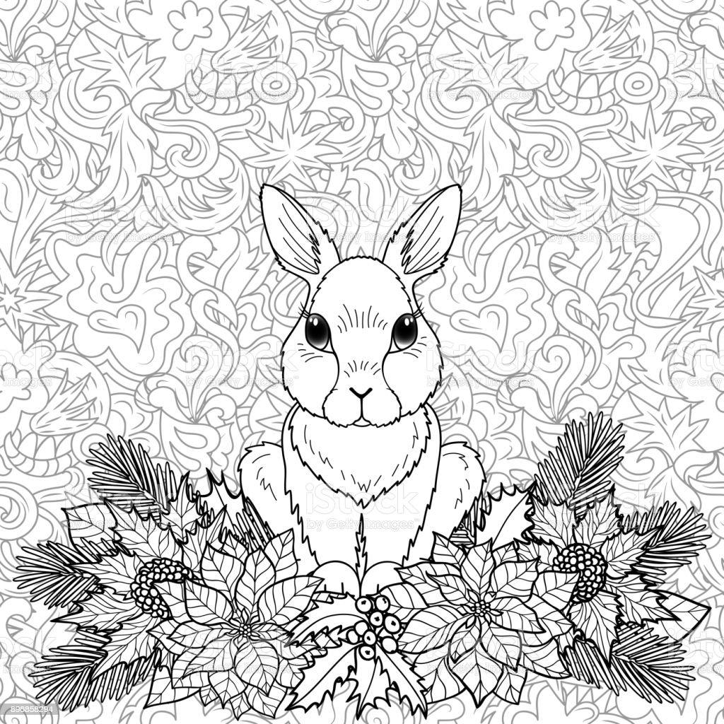 Winter Malvorlagen Kaninchen Vektor Illustration 896858294 | iStock