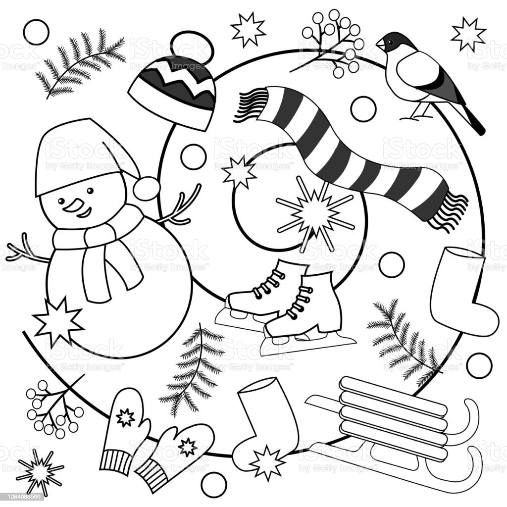 Winter Coloring Pages For Kids And Adults Stock Illustration - Download  Image Now - IStock