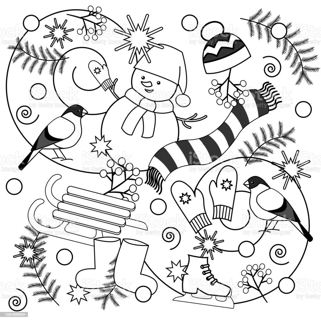 Winter Coloring Pages For Kids And Adults Stock Illustration Download Image Now Istock