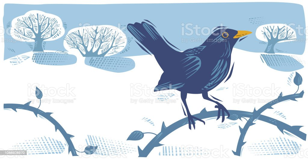 Winter Countryside scene with Blackbird royalty-free winter countryside scene with blackbird stock illustration - download image now