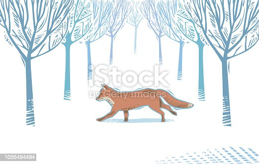 Winter Countryside scene with fox