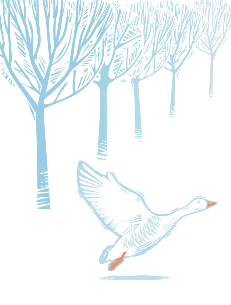 Winter Countryside scene with Goose Countryside scene in hand crafted wood cut print style. snow goose stock illustrations