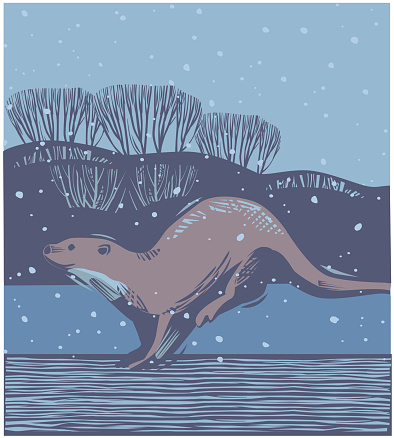 Winter Countryside scene with Otter
