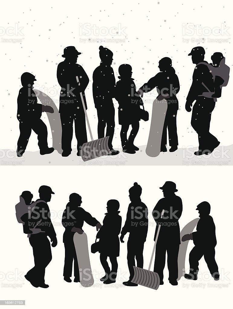 Winter Crowd Vector Silhouette vector art illustration