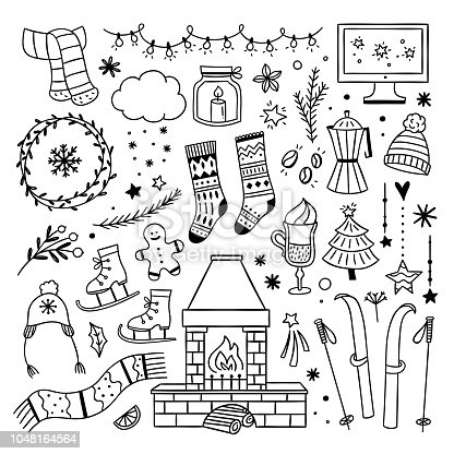 Winter cute doodles illustrations. Cozy winter home lifestyle symbols. Christmas outline elements on white background