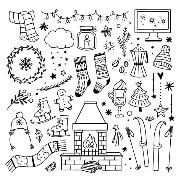 illustrazioni stock, clip art, cartoni animati e icone di tendenza di illustrazioni di doodles carini invernali. accoglienti simboli di stile di vita della casa invernale. elementi del contorno natalizio su sfondo bianco - christmas movie