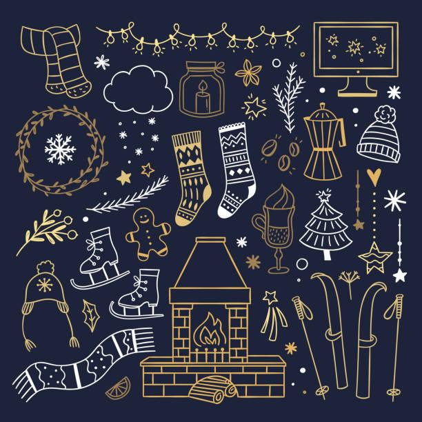 illustrazioni stock, clip art, cartoni animati e icone di tendenza di illustrazioni di doodles carini invernali. accoglienti simboli di stile di vita della casa invernale. elementi di contorno natalizio dorati su sfondo scuro - christmas movie