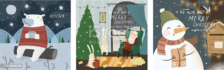 istock Winter cute greeting cards. Vector character illustrations: White teddy bear in the north, santa claus house and snowman. Drawings for happy new year and christmas 1197658338