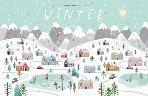 Winter. Cute vector illustration of the Christmas, New Year winter landscape with houses, mountains, people, trees and a skating rink. Top view