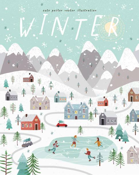 zimowe. urocza wektorowa ilustracja świątecznego, noworocznego zimowego krajobrazu z domami, górami, ludźmi, drzewami i lodowiskiem. najlepsze vieц - holiday background stock illustrations