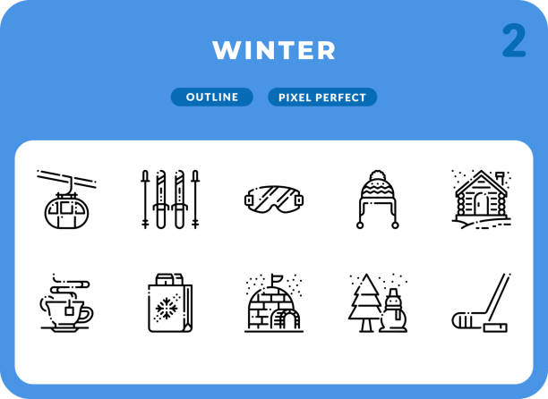 Winter Dashed Outline Icons Pack for UI. Pixel perfect thin line vector icon set for web design and website application. vector art illustration
