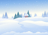 Vector illustration of a beautiful Christmas landscape, winter day background