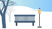 Winter day in the park. Wooden bench with street lamp Background