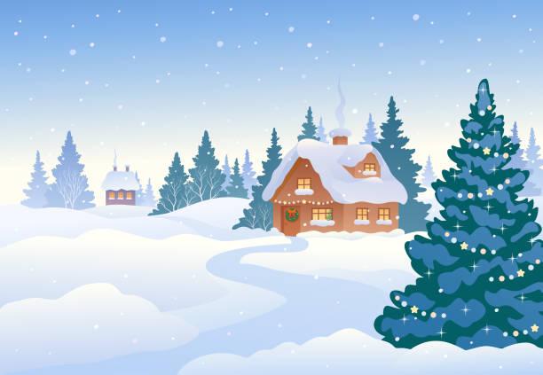 stockillustraties, clipart, cartoons en iconen met winter dag dorp - christmas cabin