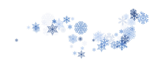 Winter decoration element from flying snowflakes.