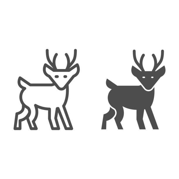 ilustraciones, imágenes clip art, dibujos animados e iconos de stock de línea de ciervos de invierno e icono sólido, concepto de navidad, signo de cervatillo sobre fondo blanco, icono de reno de navidad en estilo de esquema para el concepto móvil y el diseño web. gráficos vectoriales. - hueva