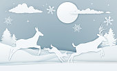 A winter Christmas scene of deer family running in the snow in a vintage paper art style