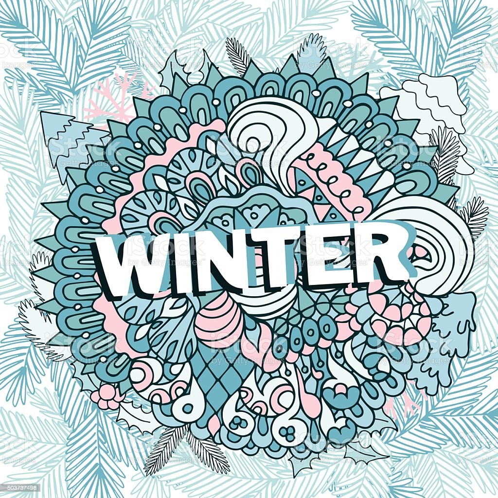 冬の落書きデザインおしゃれシーズンの構成 - the swirlのベクターアート