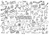 Winter doodles collection. Design elements. Snowman, Snowflakes, Skies, scarf, hot