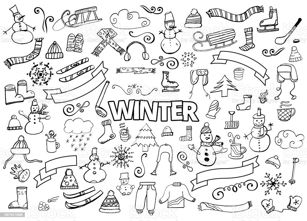 Winter doodles collection. Design elements. Snowman, Snowflakes, Skies, scarf, hot vector art illustration