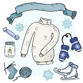 Winter doodles set. Cute hygge stickers. Collection of cozy winter items. Sweater, scarf, mittems, ice skates, knitting, yarn