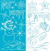 """Winter Doodles. Pen and ink Winter Doodles with Snowman and Frozen Icicles. Compound paths. Color changes a snap. Use as positive image or reverse out. Ghost back or color it. Check out my """"Christmas Backgrounds and Accents"""" light box for more."""