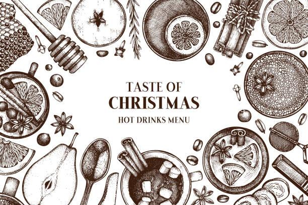winter trinkt design 1 - weihnachtsschokolade stock-grafiken, -clipart, -cartoons und -symbole