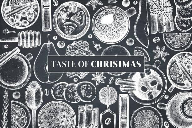 winter-getränke-design auf tafel - weihnachtsschokolade stock-grafiken, -clipart, -cartoons und -symbole