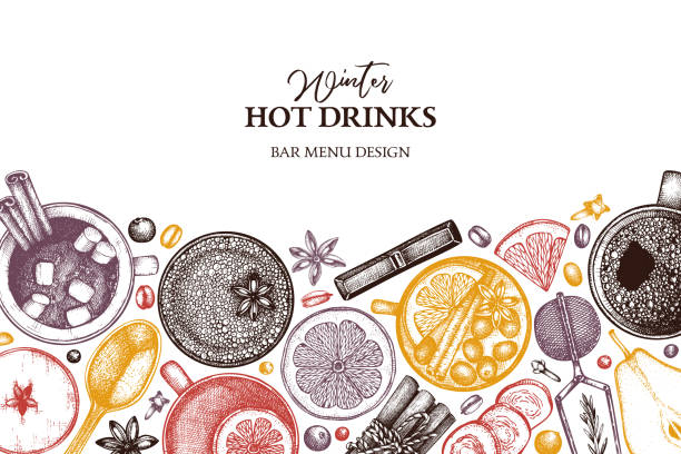illustrazioni stock, clip art, cartoni animati e icone di tendenza di winter drinks design - christmas cooking