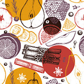 Vector background kitchen herbs, spices, dried fruits and berries. Hand sketched mulled wine ingredients. Merry Christmas illustration. Bar menu design. Top View