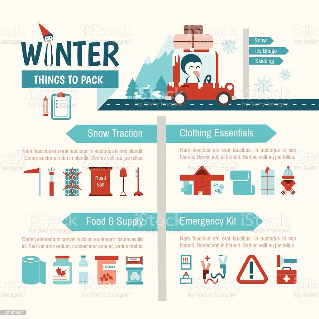 Winter Driving packing list infographics for safety trip vector art illustration