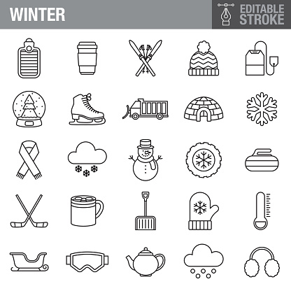 Winter Editable Stroke Icon Set