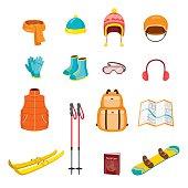 Winter Equipment Icons Set