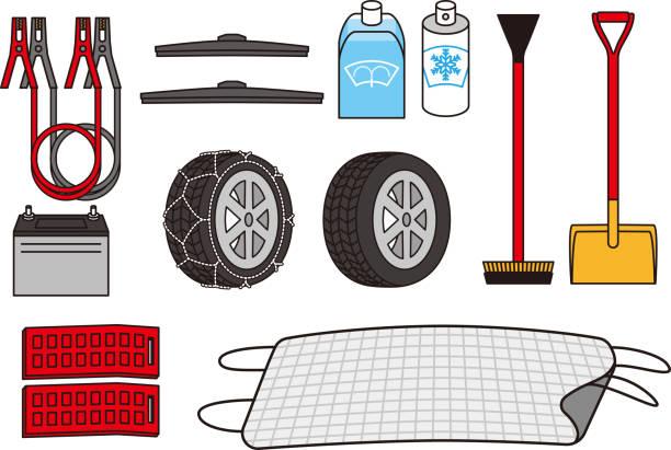 Winter equipment of car vector art illustration