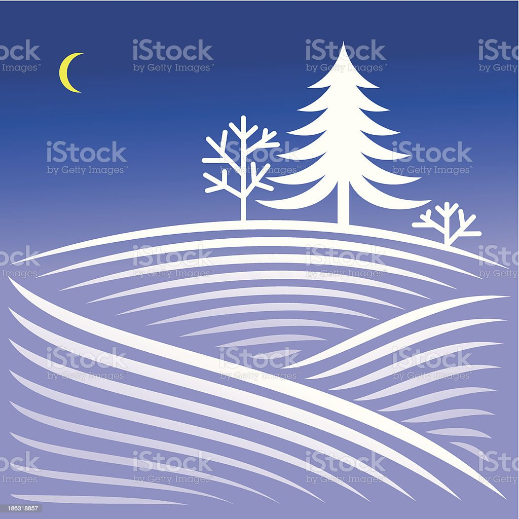 winter Abend-Landschaft mit spruce – Vektorgrafik