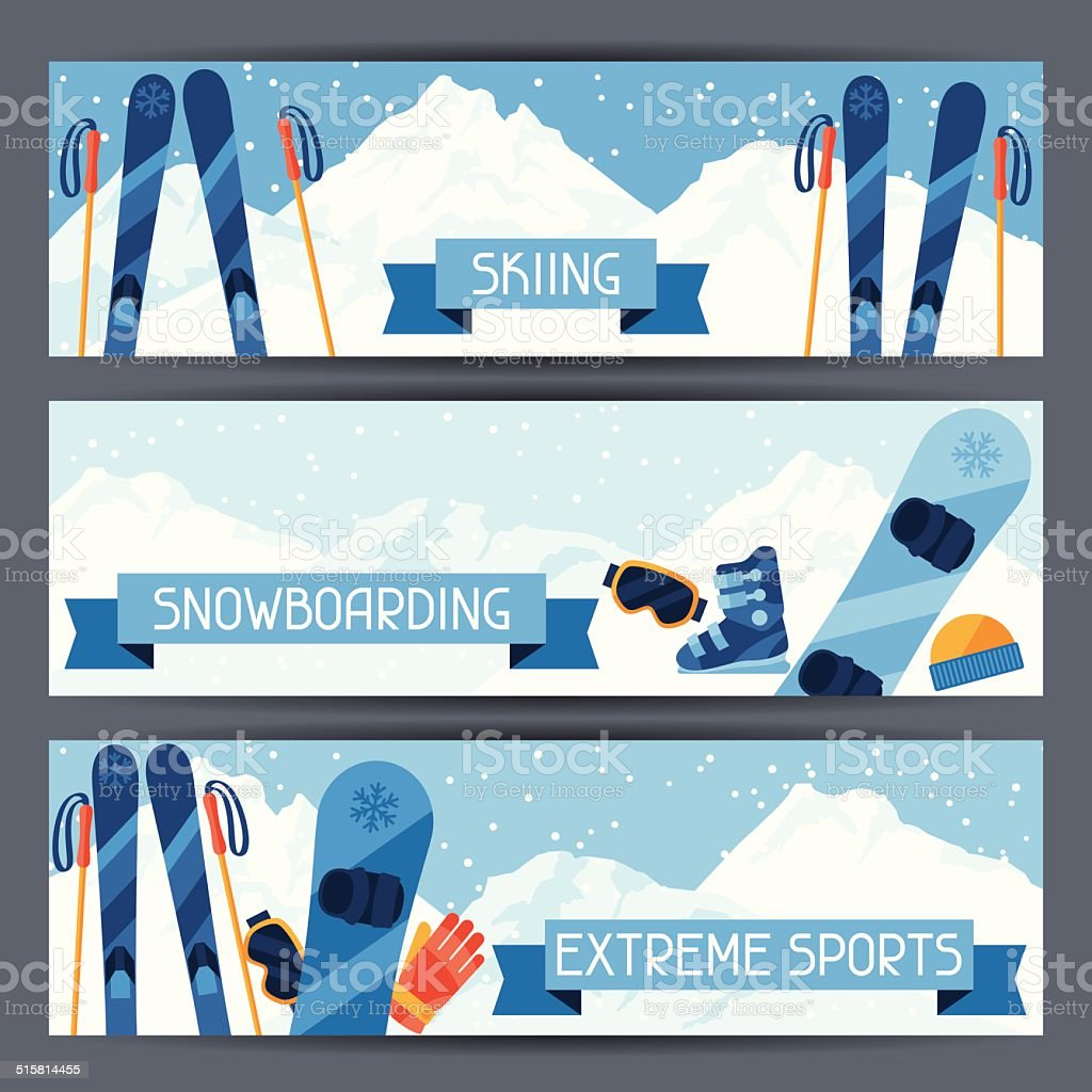 Winter extreme sports banners with mountain landscape. vector art illustration