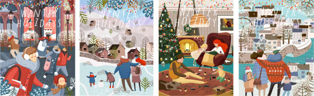 ilustrações de stock, clip art, desenhos animados e ícones de winter family holidays. cute vector illustration of a family and people shopping in the new year and christmas, walking in the city and at home in a cozy living room. drawings for card, background or - family christmas
