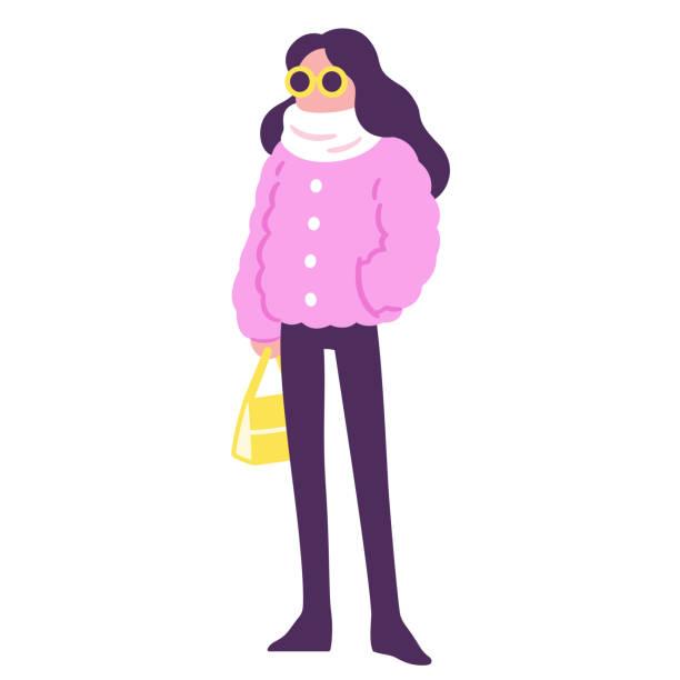 winter mode pelz - pelzmäntel stock-grafiken, -clipart, -cartoons und -symbole