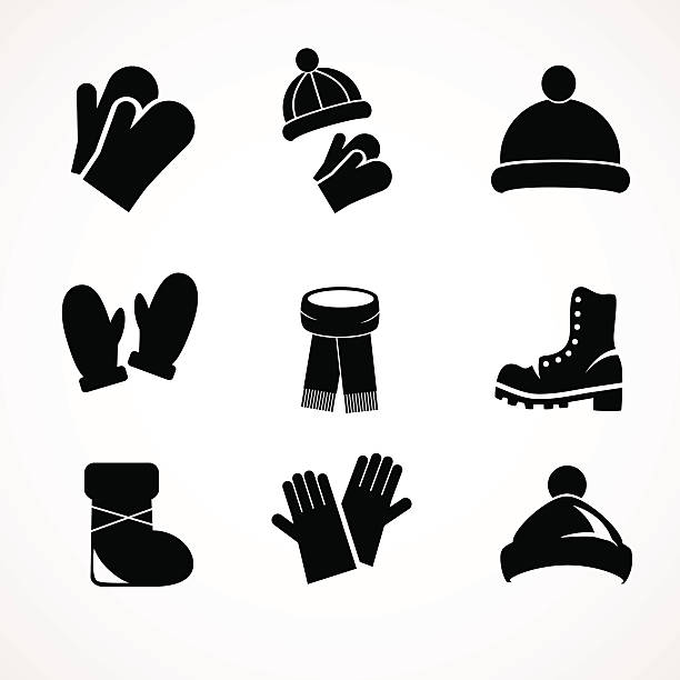 Winter fashion icon set collection. Vector art - hat, gloves, shoes, boots icons isolated on white background. mitten stock illustrations