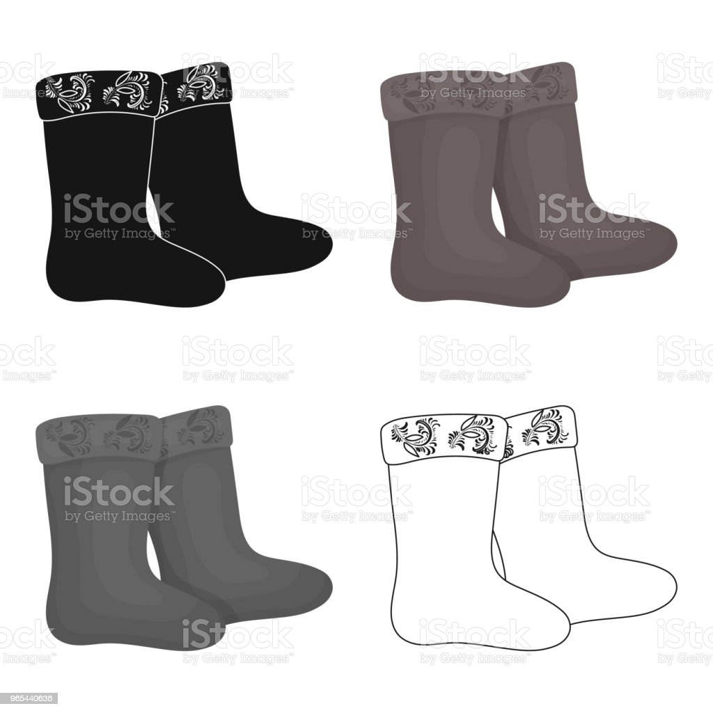 Winter felt boots icon in cartoon style isolated on white background. Russian country symbol stock vector web  illustration. royalty-free winter felt boots icon in cartoon style isolated on white background russian country symbol stock vector web illustration stock vector art & more images of art and craft
