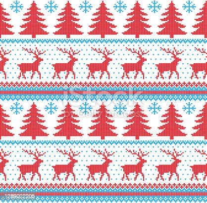 istock Winter festive Christmas knitted pattern woolen knitted 1289022205