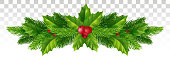 Winter Festive decor of Christmas tree branches and holly leaves with red berries. Vector illustration. Eps 10.