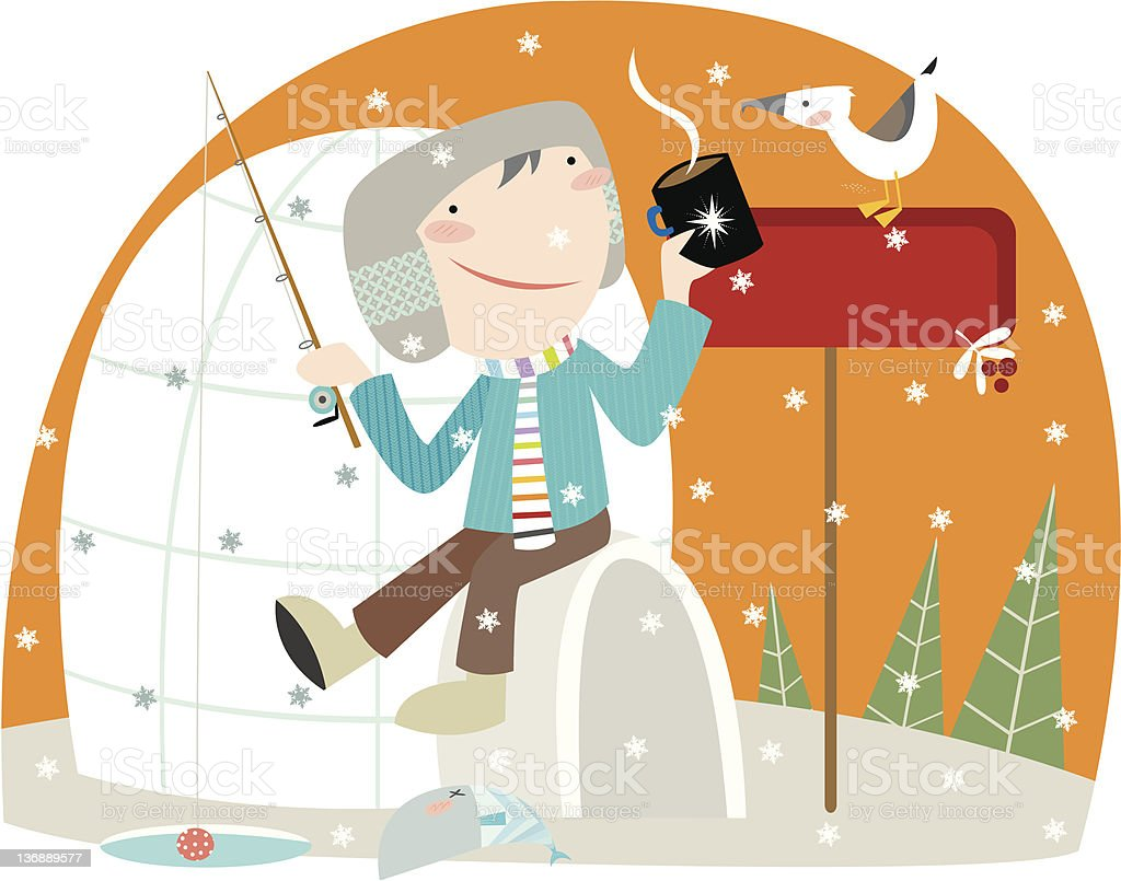 winter fishing royalty-free winter fishing stock vector art & more images of cold temperature